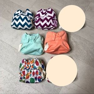 Lot 5 Nicki's Bamboo All In One Cloth Diapers OS